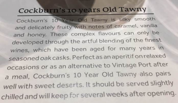 Tasting notes for Cockburn's 10 year old Tawny