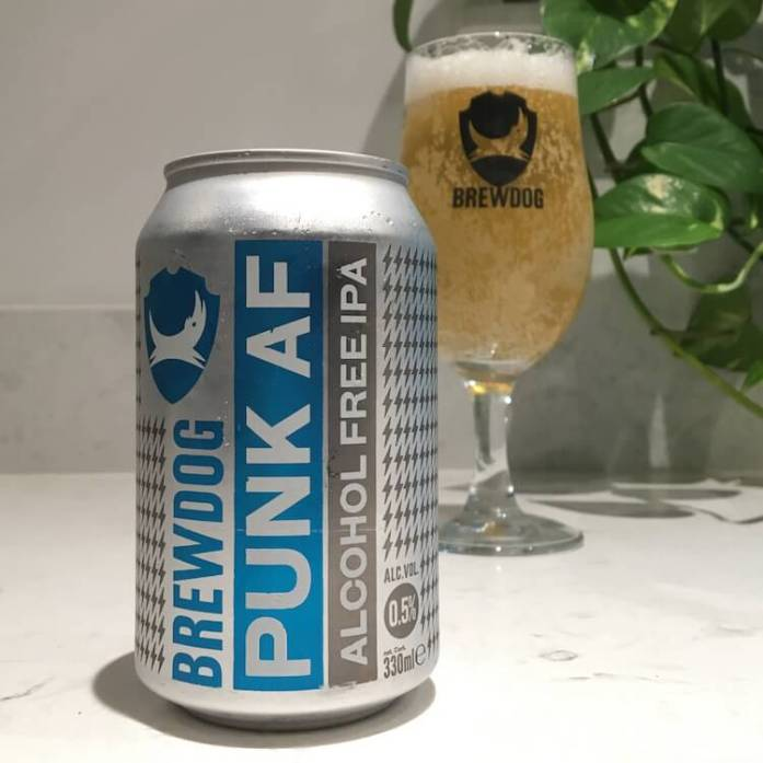 A Can and Glass of Brewdog Punk AF, an Alcohol Free Beer