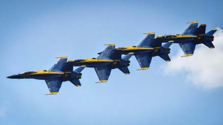 170423-N-KE519-044 BELLE CHASSE, La. (April 22, 2017) The U.S. Navy flight demonstration team, the Blue Angels, fly in formation over Naval Air Station Joint Reserve Base (NAS JRB) during the New Orleans Air Show 2017. NAS JRB New Orleans hosted its first air show since 2011. (U.S. Navy photo by Mass Communication Specialist 2nd Class Edward Guttierrez III/Released)