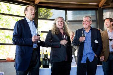 Sam Bronfman toasting at the Water Bar with (L-R) Chris Upchurch, Bob Lindquist, Cameron Hughes (Founder, Cameron Hughes)