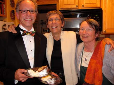 In the kitchen, George Reizner, Norma Sober, Anne Wadsack, board members