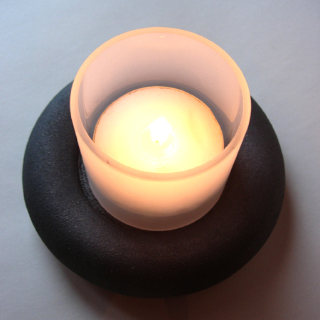 Lundi lysestake med stort lys / candlestick with big light