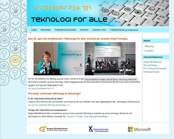 Teknologi for alle hjemmeside / website