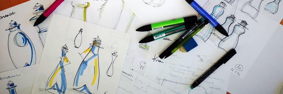 Idé og skisser på design av stockmann flasken