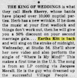 Earth Kitt in NY Daily News