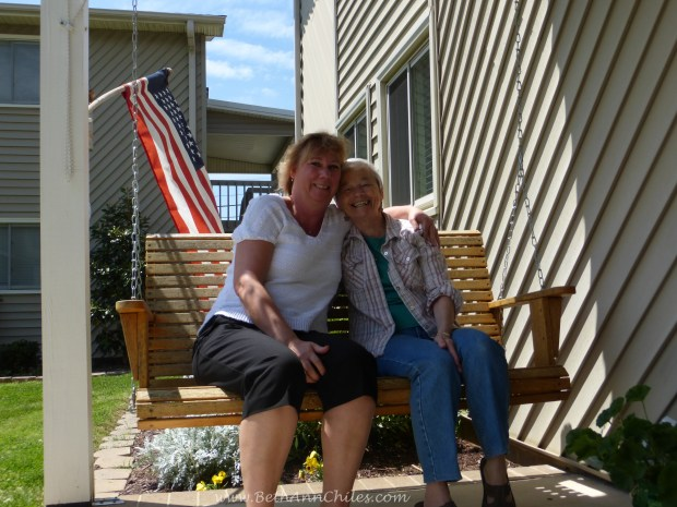 Betty Barnhardt and myself  hanging out on her patio