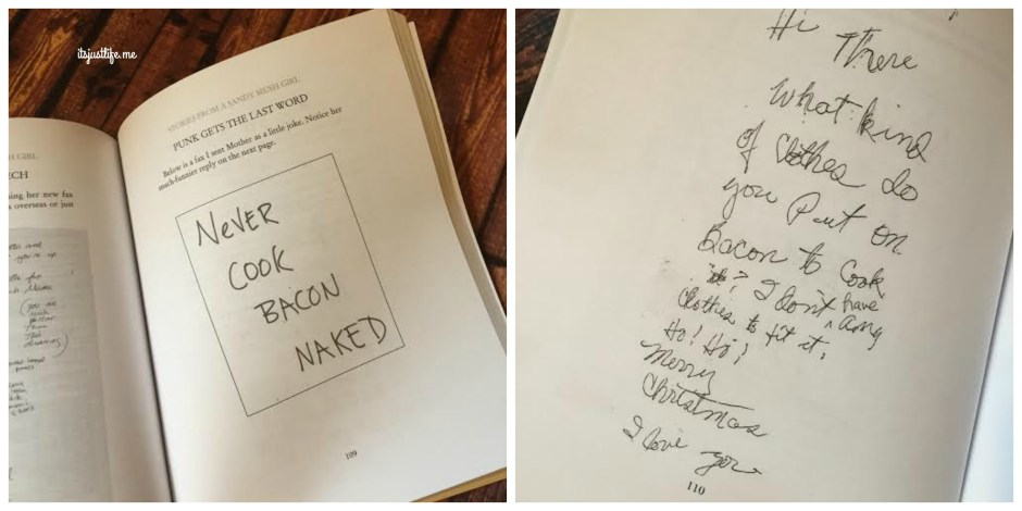 Janis's note on the left with her mother's response on the right.