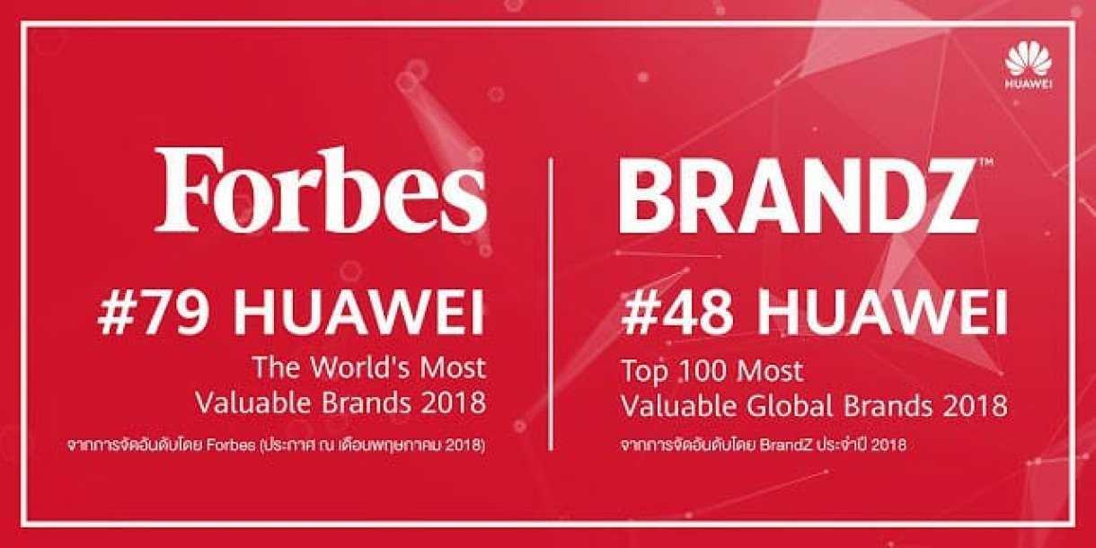 Huawei ขึ้นอันดับที่ 79 แบรนด์ที่มีมูลค่าสูงสุดในโลกปี 2018 โดย Forbes และอันดับที่ 48 ตามรายงาน BrandZ - Huawei ขึ้นอันดับที่ 79 แบรนด์ที่มีมูลค่าสูงสุดในโลกปี 2018 โดย Forbes และอันดับที่ 48 ตามรายงาน BrandZ
