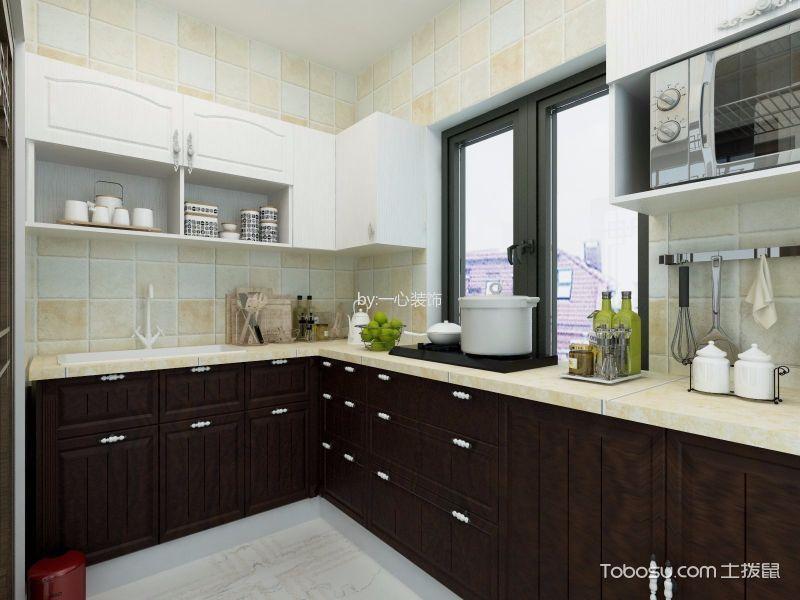 kitchen trim cream color cabinets 中式厨房装饰实景图 沉稳之间彰显雅韵 土拔鼠装修效果图专题 厨房橱柜 新中式风格124平米三室两厅室内装修效果图