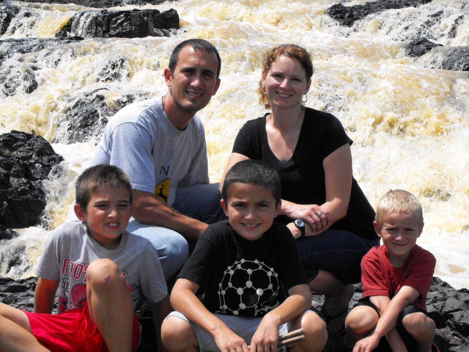 Visiting local waterfalls near B2B Nigeria base   (Top: Chris &  Angela/Bottom L to R: Caleb, Micah & Noah)