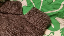 The ribbed cuff made on the circular sock machine
