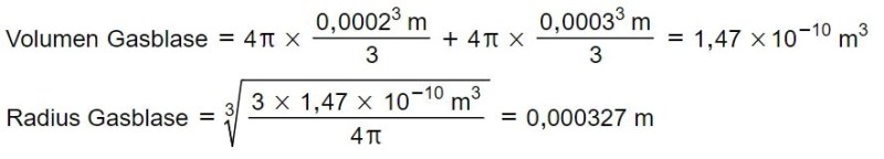 Gasblasenradius Berechnung