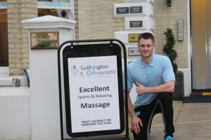 Image of Oly Ody Sports Massage Therapist outside of Lushington Chiropractic in Eastbourne