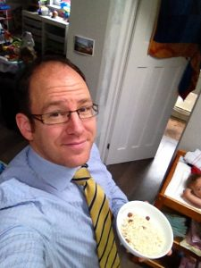 Picture showing Eastbourne Chiropractor James Revell Doctor of Chiropractic, LRCC, MSc(Chiropractic Sciences), BSc(Chiropractic Sciences) with his bowl of morning porridge this summer.