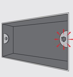 diagram of electrical metal backbox with right hand lug highlighed [ 925 x 854 Pixel ]