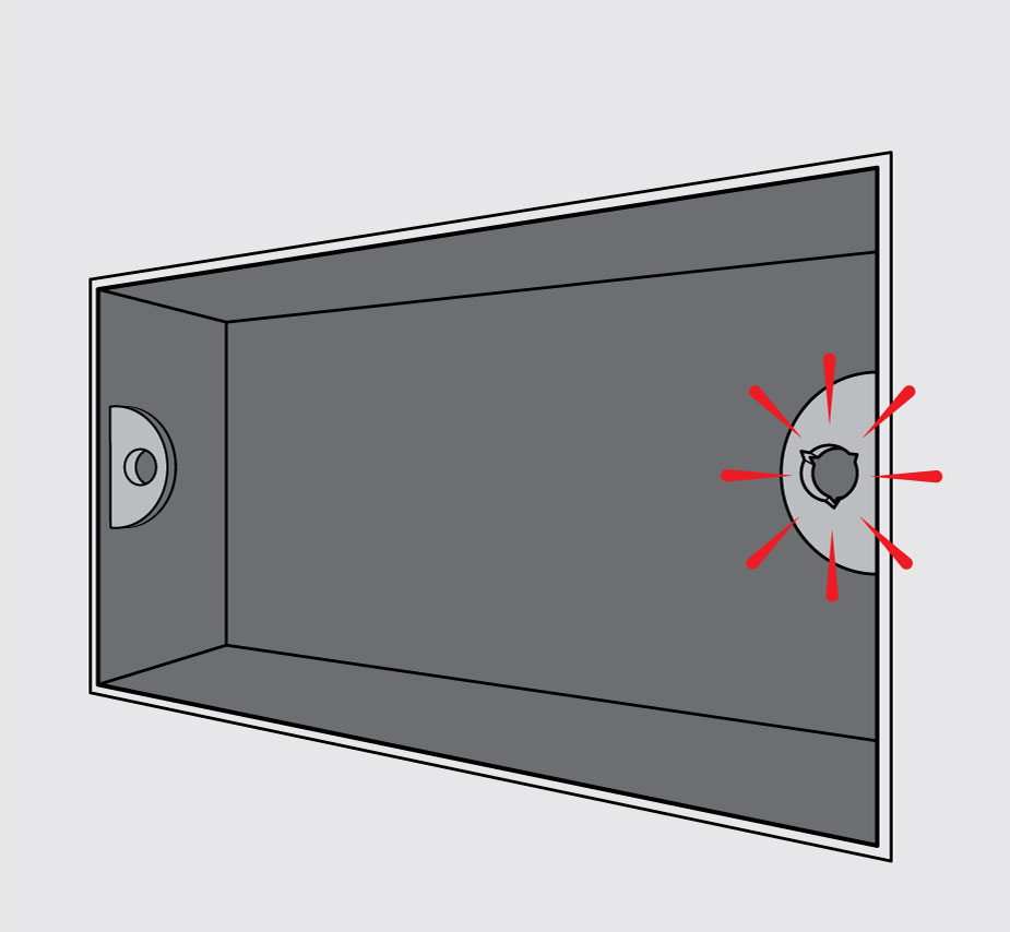 medium resolution of diagram of electrical metal backbox with right hand lug highlighed