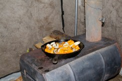 fry pan on wood stove