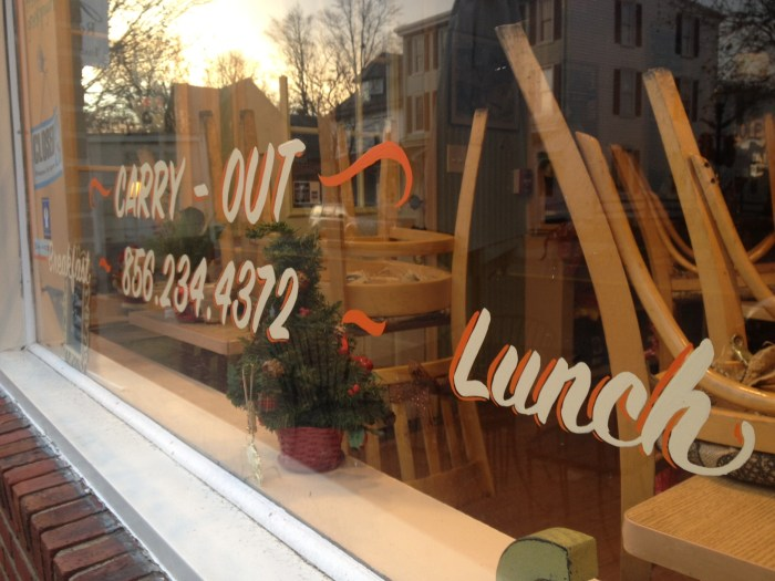 hand lettered window