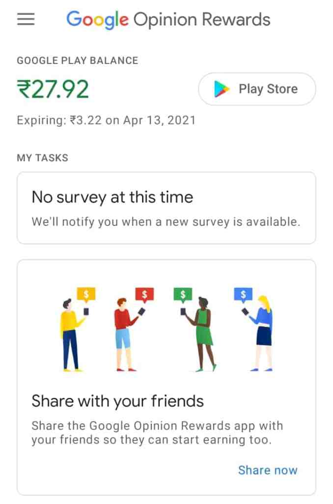 Google Opinion reward earning app for 2021