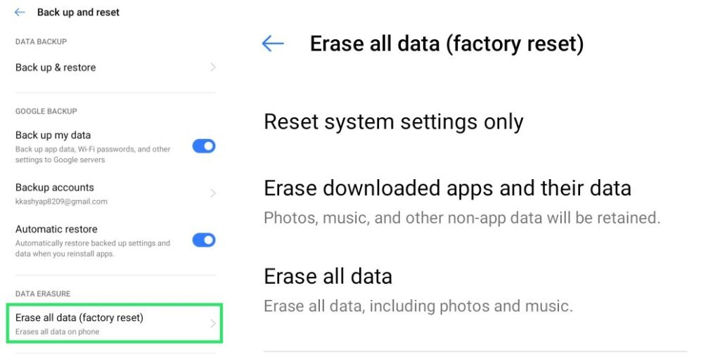 Erase all data (Factory Reset)