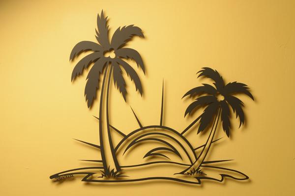 Metal Wall Art- Palm Trees, Sunrise Or Sunset Scene