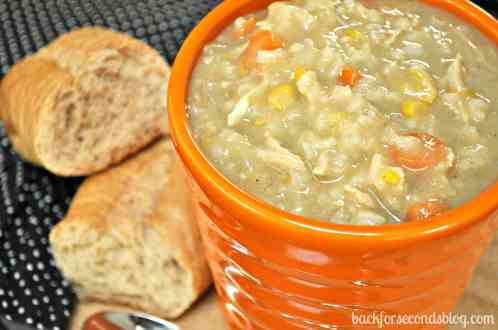 Easy Crock Pot Creamy Chicken and Rice Soup @BackForSeconds