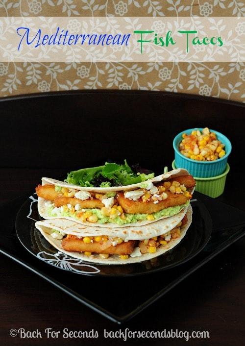 Mediterranean Fish Tacos @BackForSeconds #tacos #easymeals #seafood