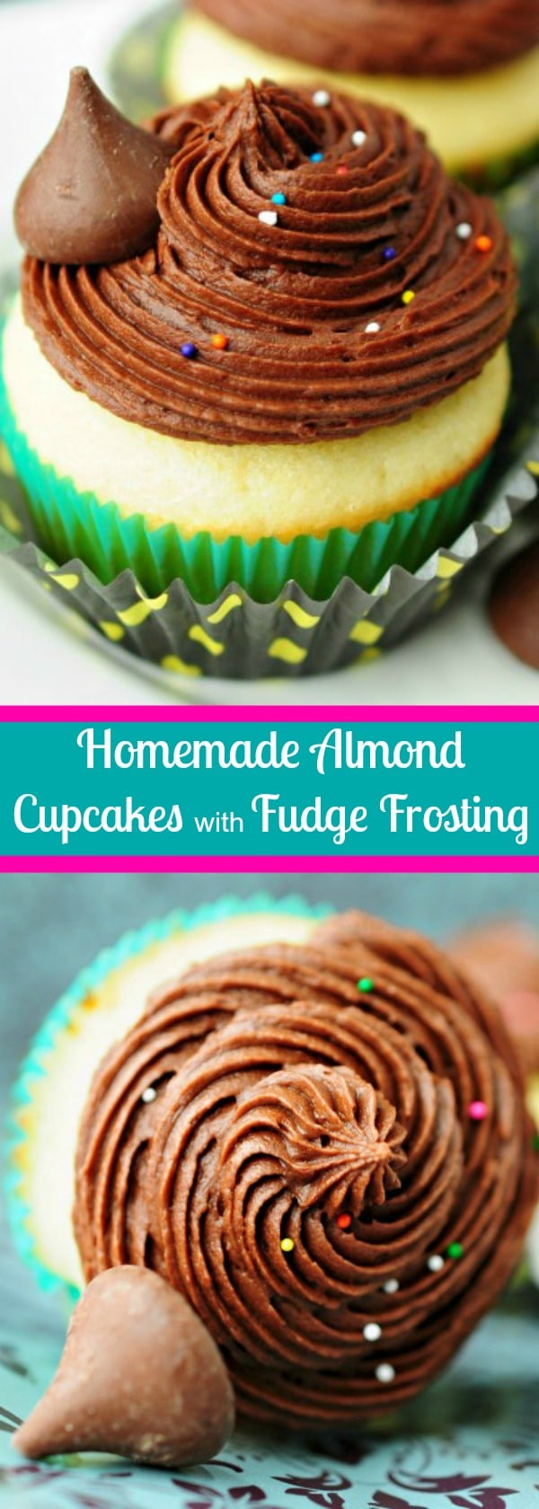 These easy homemade Almond Fudge Cupcakes are fluffy and buttery with a delightful almond flavor. The almond fudge frosting is is smooth, rich and creamy! #cupcakes #almond #chocolate