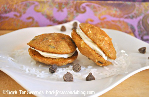 Chocolate Chip Coconut Carrot Cake Whoopie Pies  https://backforseconds.com  #recipe #carrotcake #whoopiepies #partyfood
