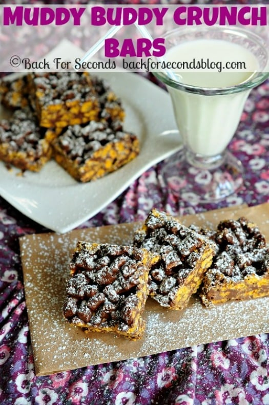 Muddy Buddy Bars! READY IN 5 MINUTES!!! https://backforseconds.com  #recipe #nobake #puppychow #muddybuddies