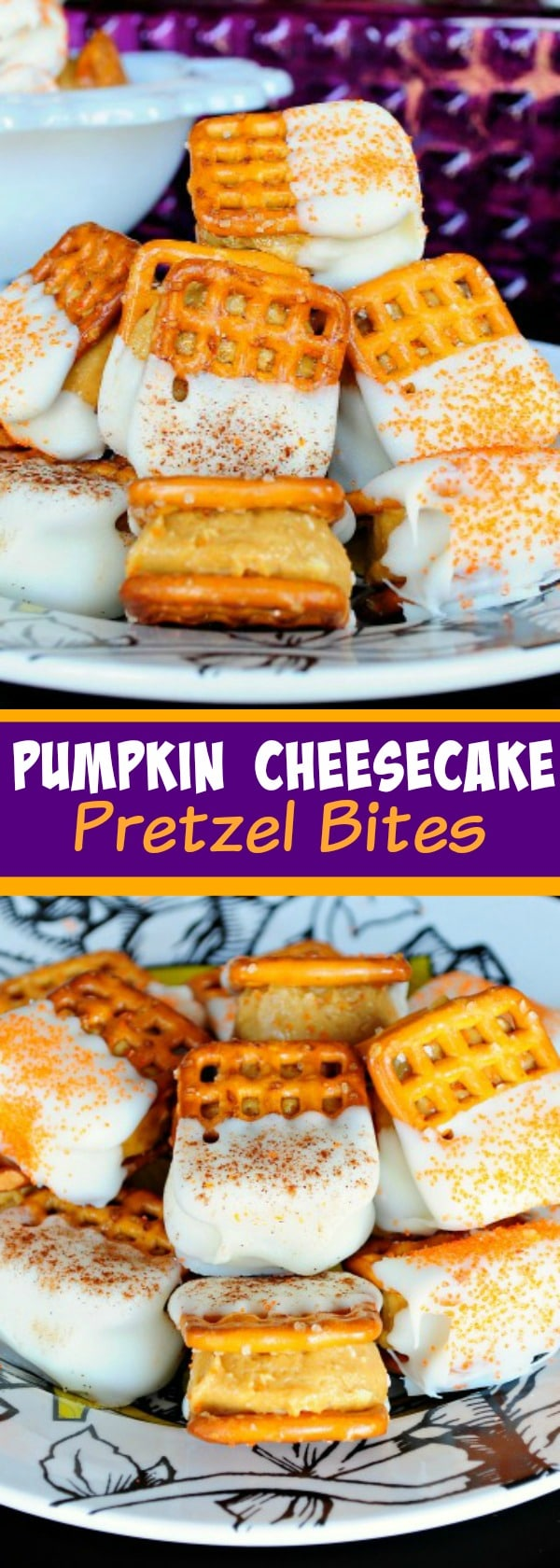 Pumpkin Cheesecake Pretzel Bites - A creamy pumpkin, biscoff, cheesecake mixture between 2 pretzels dipped in white chocolate! Great Fall snack!