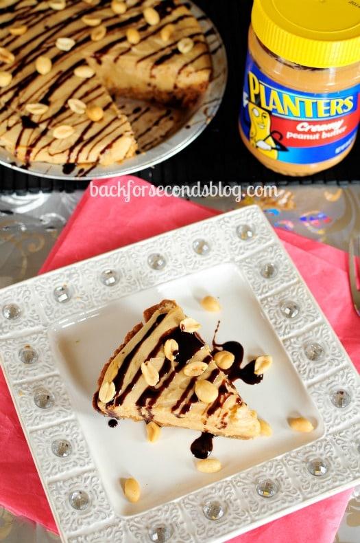 The BEST Easy Homemade Peanut Butter Pie with a KILLER Crust!! {GLUTEN FREE}  https://backforseconds.com #pie #peanutbutterdessert #cheesecake
