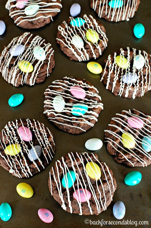 Chocolate M&M Cookies! Thick, soft, and chewy! https://backforseconds.com #easter #chocolate #m&ms #dessert