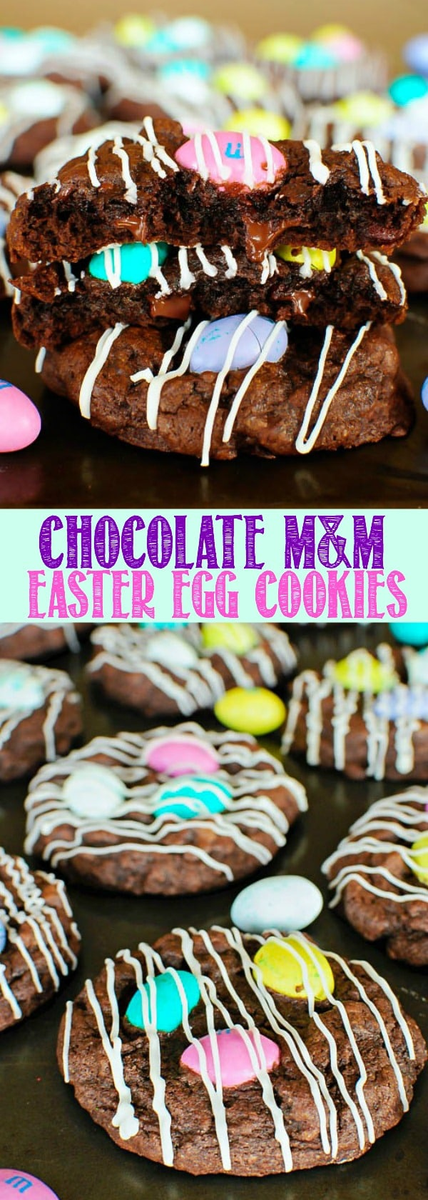 Chocolate M&M Easter Egg Cookies