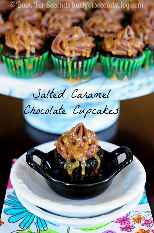 Salted Caramel Chocolate Cupcakes from scratch!  These are awesome! #dessert #cupcakes #saltedcaramel