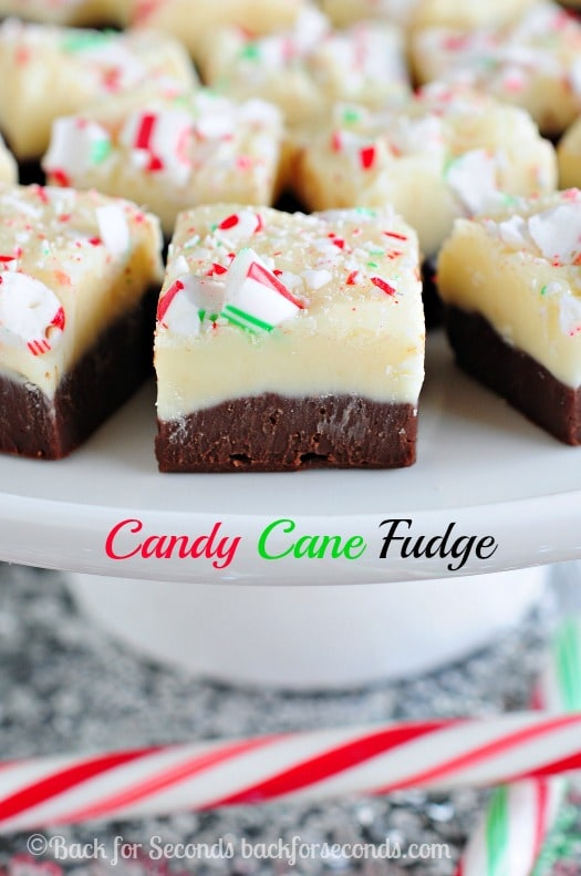 Easy Candy Cane Fudge with white chocolate peppermint and chocolate layers