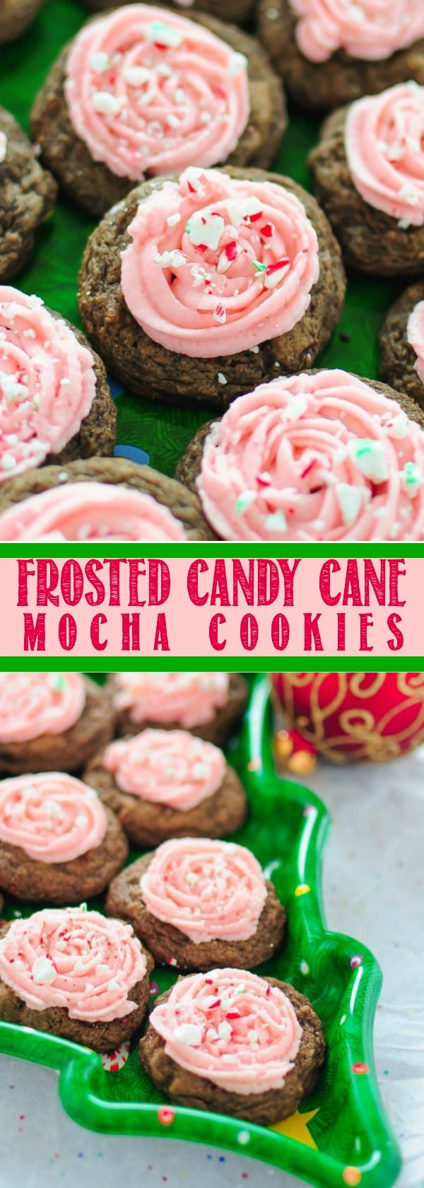 Frosted Peppermint Mocha Cookies with Candy Canes!