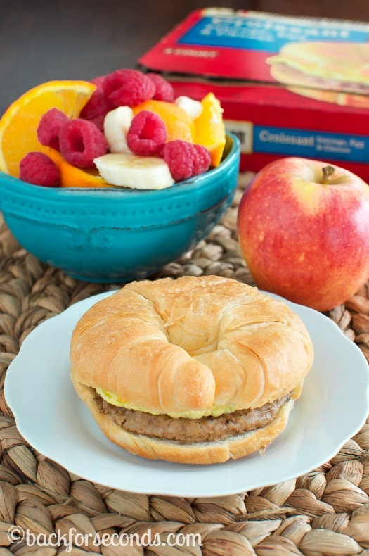 Croissant Breakfast Sandwich with Fruit Salad