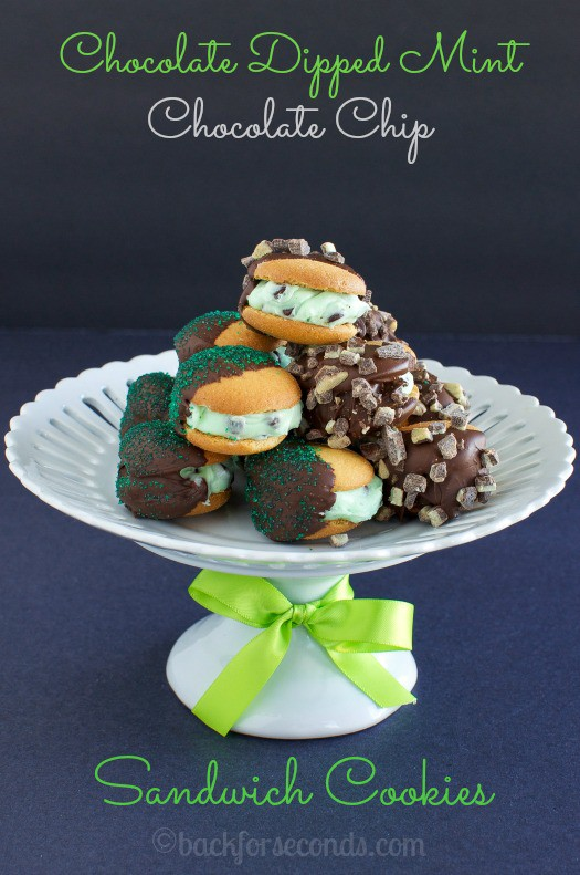 Chocolate Dipped Mint Chocolate Chip Sandwich Cookies