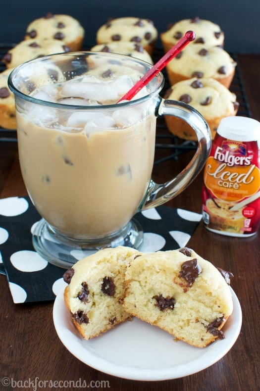 Easy Caramel Macchiato and Light and Fluffy Chocolate Chip Muffins #MyIcedCafe