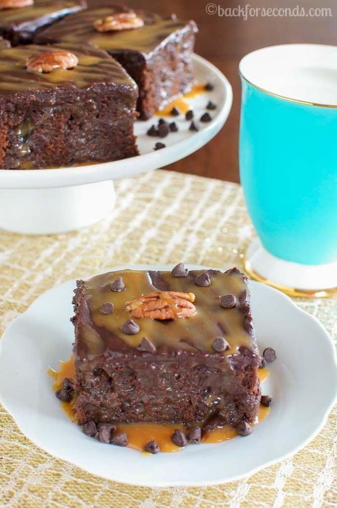 Homemade Turtle Poke Cake - Chocolate, caramel, pecan HEAVEN!