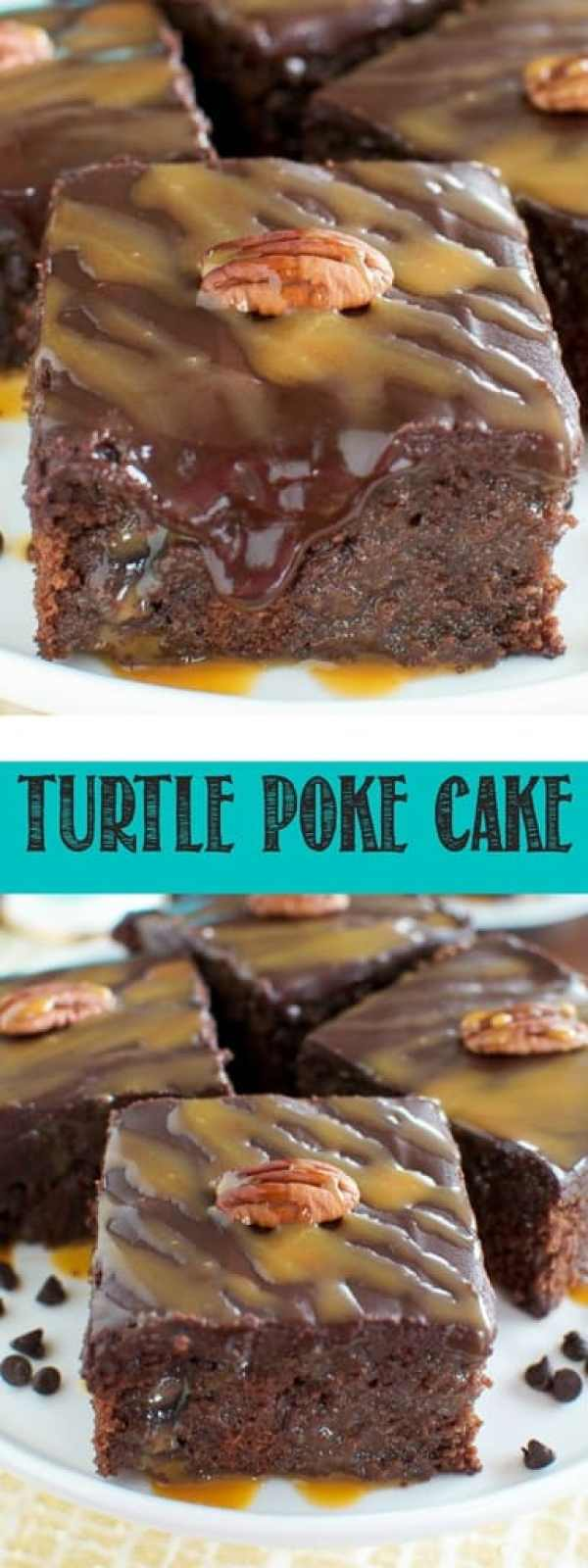 This Turtle Poke Cake is seriously the best cake ever!! Moist chocolate cake, made from scratch,  is filled with gooey caramel, and topped with chocolate ganache and pecans! YUM!