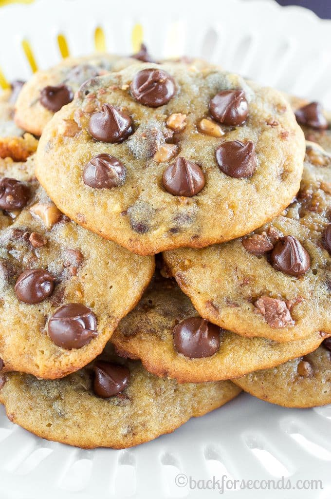 BEST EVER Banana Toffee Chocolate Chip Cookies