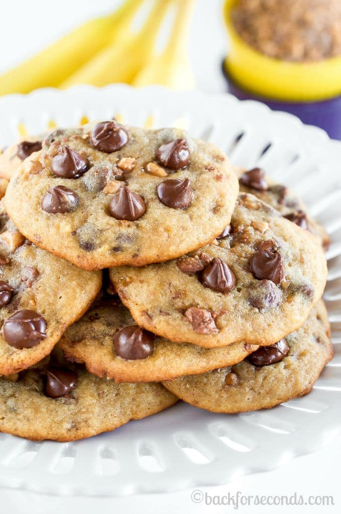 Chewy Gooey Banana Toffee Chocolate Chip Cookies