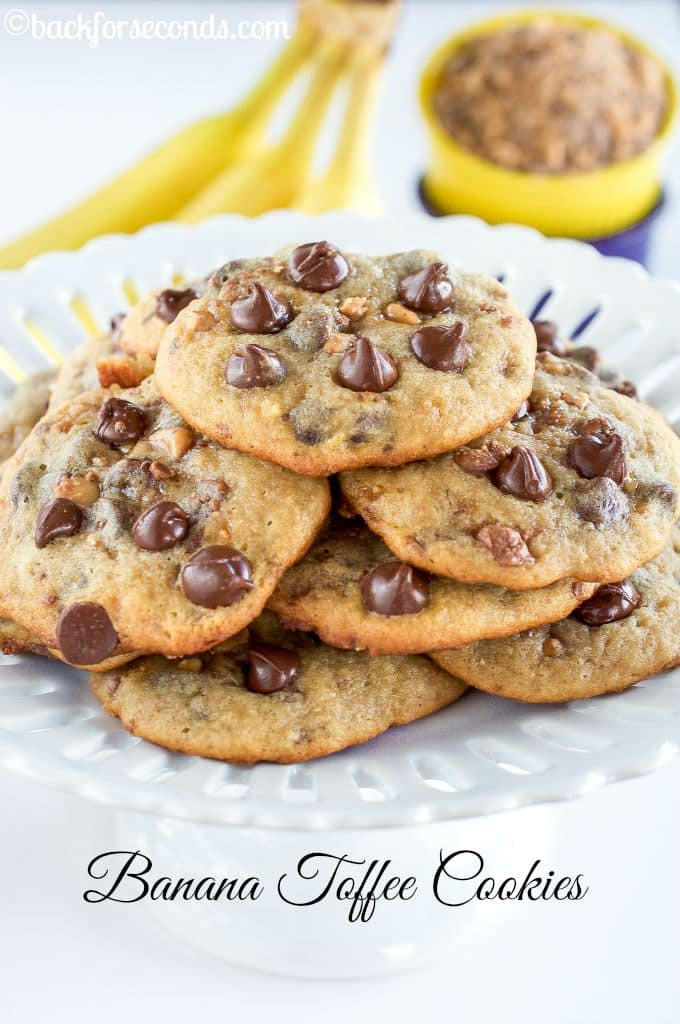 Soft and Chewy Banana Toffee Chocolate Chip Cookies