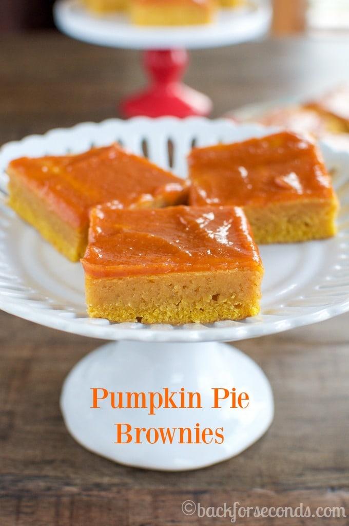 Fudgy Pumpkin Pie Brownie Recipe with Pumpkin Glaze