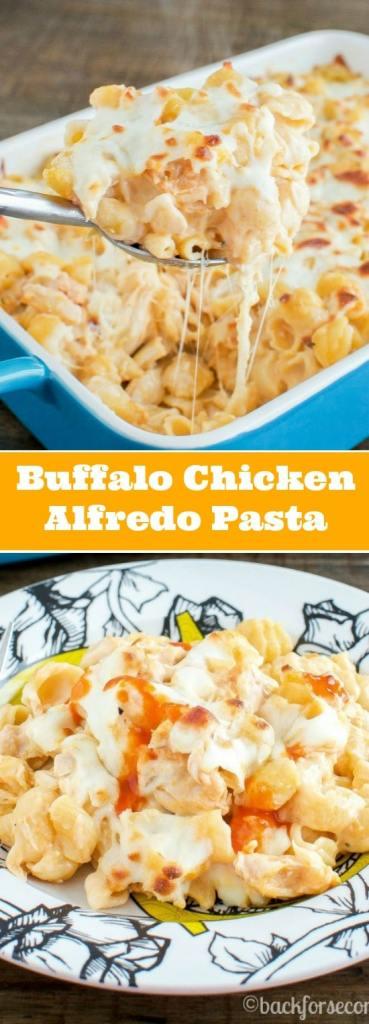 Buffalo Chicken Alfredo Pasta Bake