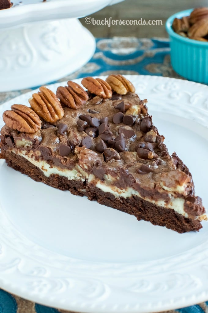 Chocolate Pecan Pie Brownie Cheesecake- Great Thanksgiving or Christmas dessert!