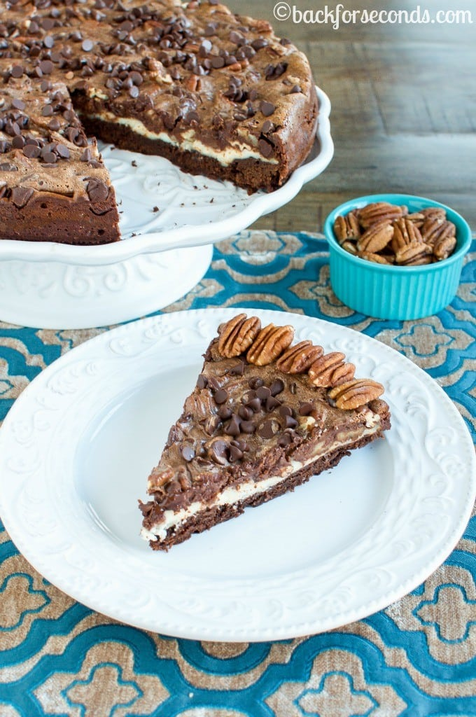 Chocolate Pecan Pie Brownie Cheesecake - Incredibly delicious, surprisingly easy!