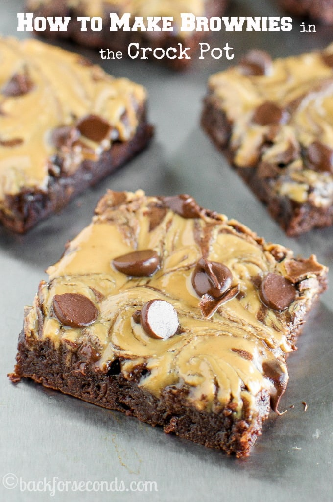 Slow Cooker Peanut Butter Fudge Brownies!!